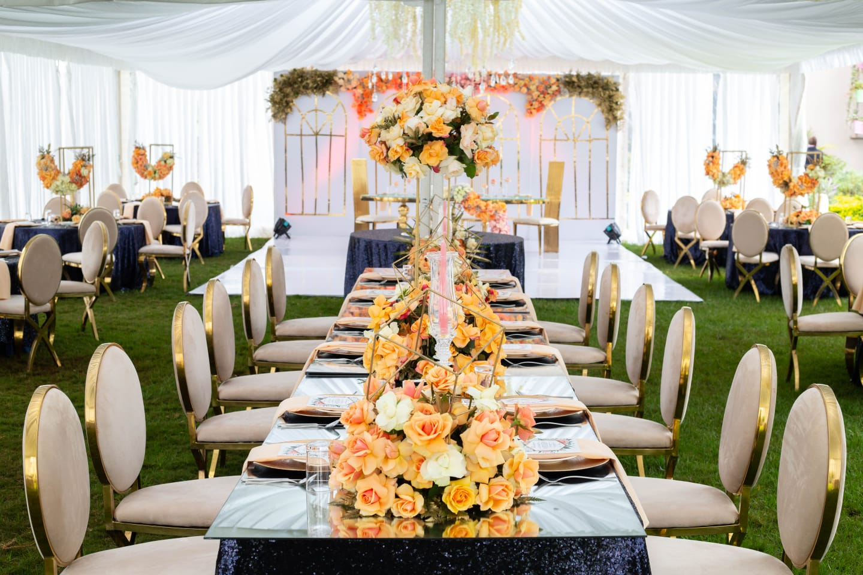 Stella & Jack: Navy Blue, Peach, and Gold Wedding